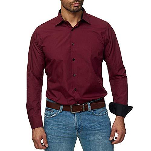 Dasongff Herren-Hemd Langarm Elastisch Slim Fit für Freizeit Business Hochzeit Reine Farbe Hemd Klassisches Basic Langarmshirt Modisch Arbeit Sweatshirt -