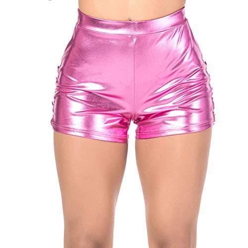 sexy Hotpants Short Damen Hot Pants Gogo Clubwear Disco Party gerafft metallic camouflage (Rosa, XL)