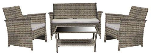 Luxurygarden - Set salotto da giardino 2 posti con divano poltrone da esterno in rattan sintetico col. grigio melange