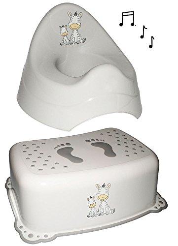 Unbekannt 2 TLG. Set: Trittschemel + Töpfchen / Nachttopf - mit Musik / Sound - groß - mit großer Lehne + Spritzschutz -  Zebra  - grau - Babytöpfchen / Kindertopf / ..