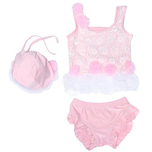 Eozy 3pcs Bikini Ensemble Vêtement Natation Maillot De Bain Bonnet Gilet Slip Dentelle Fleur Bébé Fille Rose Taille XXXL