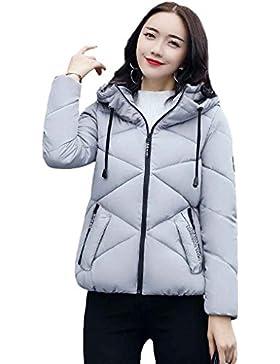 Masterein Invierno Mujer Down Jacket corto algodón delgado acolchado Tops Capucha con cremallera abrigo Outwear...