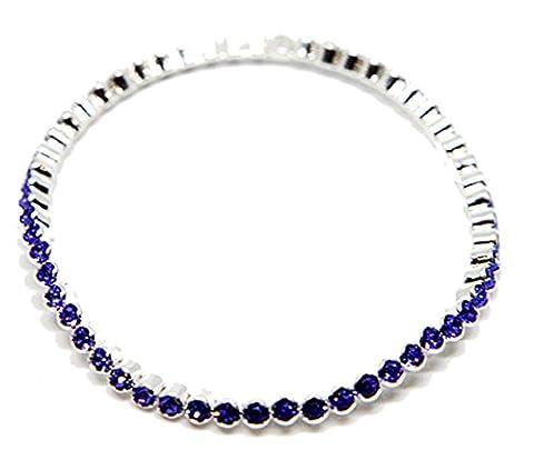 Swarovski - Authentique Swarovski Bracelet Swarovski Elément Bleu Saphir.Fourni avec son écrin