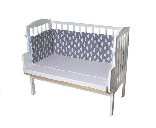 Beistellbett, Kinderbett, Gitterbett, Babybett, Babyblume MARIA 90x40cm, weiss inkl. Matratze Basic und Nest grau Wolke