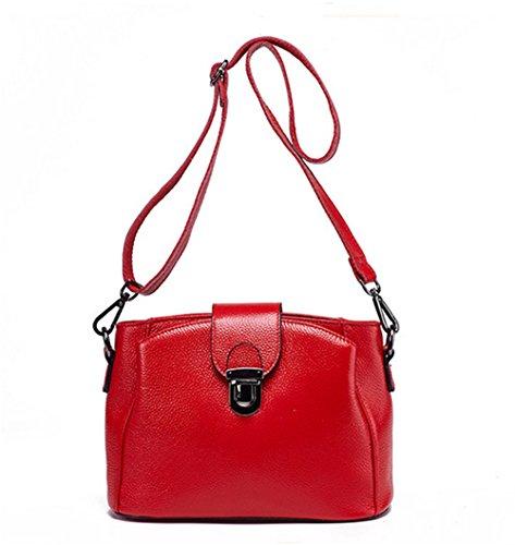 Xinmaoyuan Borse donna vera pelle femmina croce obliqua Package Litchi Pattern bloccare la benna borsa a tracolla,rosso Rosso