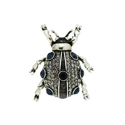 Sweet Deluxe Brosche Käfer, antiksilber/Crystal/blau I ausgefallene Blusenbrosche für Damen & Mädchen I Frauen-Brosche für Abendkleid & Bluse I Anstecknadel