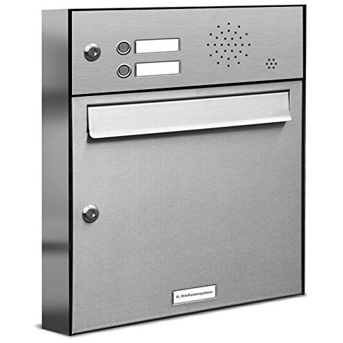 AL Briefkastensysteme 1er Briefkasten mit Klingel V2A Edelstahl, Premium Briefkasten DIN A4, 1-Fach Postkasten modern Aufputz