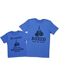 Zarlivia Clothing Boxeador con Papá - Regalo Para Padres e Hijos - Camiseta de Niño y