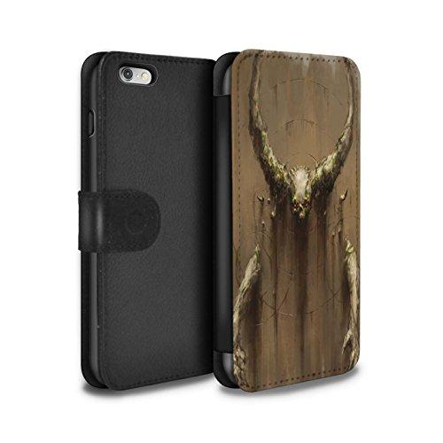 Offiziell Chris Cold PU-Leder Hülle/Case/Tasche/Cover für Apple iPhone 6+/Plus 5.5 / Der Anrufer Muster / Dunkle Kunst Dämon Kollektion Hörner