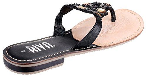Riva Selle orteil Post Mules Mesdames Bloc Talon Chaussures pour Femme en Cuir Noir à Enfiler Noir - noir