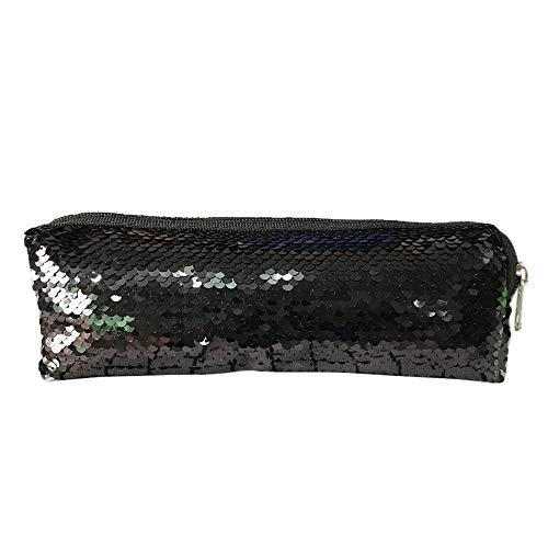 TianranRT Frauen Mädchen Mode Doppel Farbe Pailletten Stift Tasche Speicher Tasche Damen Handtasche Beutel (Schwarz) -