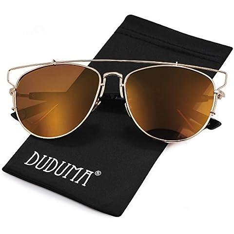 Duduma Polarizzati Occhiali da Sole Aviator Modo con il Piano Lente della Struttura del Metallo per le Donne e Gli Uomini 8027