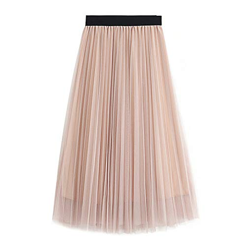 WAFA Frauen Lange Tüllrock Tutu Swing Röcke Plissee Maxi Chiffon Petticoat Hohe Elastische Taille Midi Rock Fließende Großen Saum-Beige