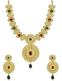 Zaveri Pearls Ethnic Gold Toned Necklace Set For Women - ZPFK5726
