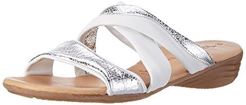 Tamaris Damen 27114 Offene Sandalen mit Keilabsatz, Weiß (White/Silver 191),