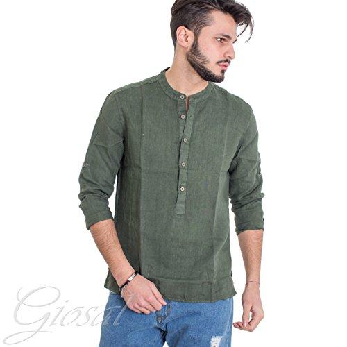 Giosal camicia uomo lino collo coreano serafino tinta unita verde slim c1299a-m