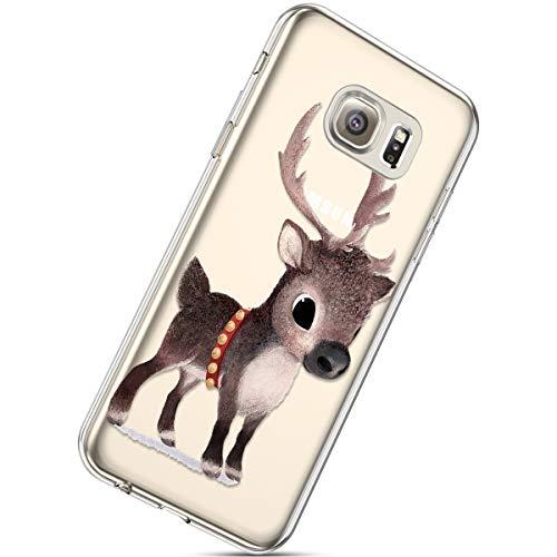 Kompatibel mit Handytasche Galaxy S6 Weihnachten Handyhülle Durchsichtig Schutzhülle Silikon Dünn Case Transparent Handyhüllen Kirstall Clear Case Etui TPU Bumper Schale,Braun Hirsch