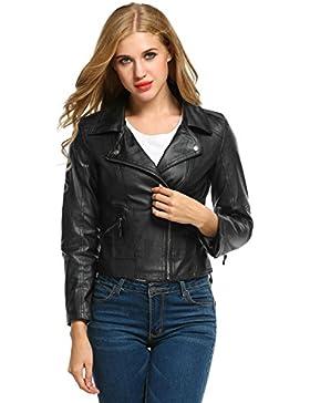 Teamyy Chaqueta Moto Mujer Cazadoras de Cuero Imitación Abrigo Corto Cremallera Jacket