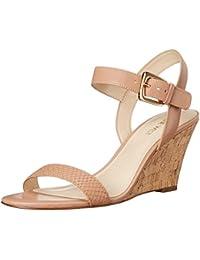 Nine West Women'S Kiani Leather Wedge Sandal, Natural/Natural, 41.5 B(M) EU/8.5 B(M) UK