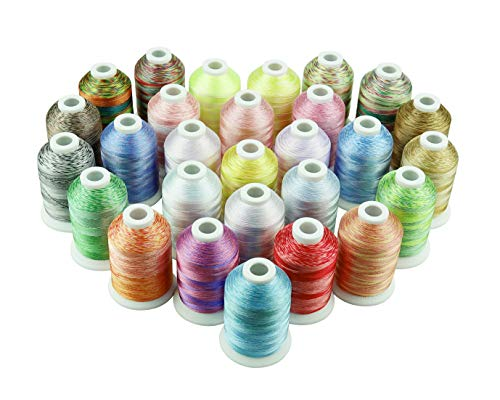 Simthread 28 Multicolore Polyester Fil machine à broder 1000M (1100Y) / bobine pour Brother/Babylock/Janome/Singer/Kenmore Machine à broder