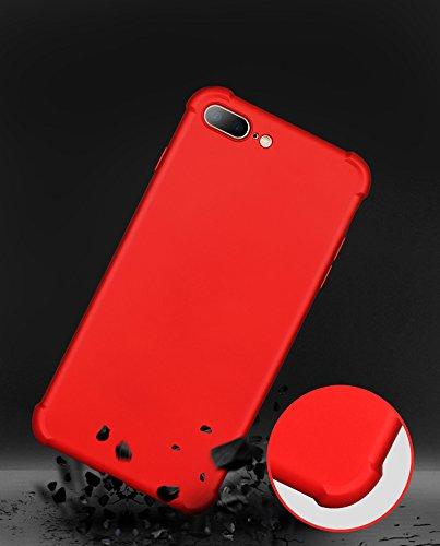 Ultra Slim Thin Custodia per iPhone 7Plus, MAOOY Luxury Hybrid 2in1 Soft TPU Silicone Back Cover e Hard PC Plastic Front Case con Utilizzo Completo per iPhone 7Plus, Case con Disegno Airbag Antiurto A Rosso