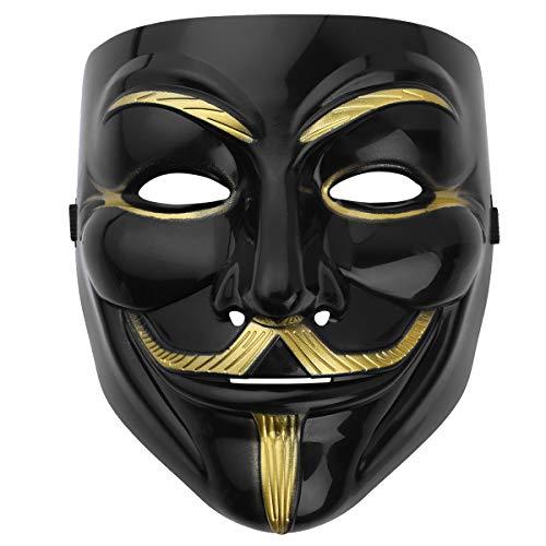 Kostüm Masken Partei - iEFiEL V Maske Halloween Gesichtsmaske Halloween Horror Kostüm Horror Maske für Halloween Cosplay Partei Fest Karneval Faschingskostüme Schwarz One Size
