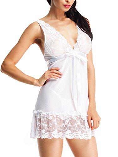 Amoretu Damen Negligee Nachthemd Sleepshirt mit reizvoller Spitzenverzierung Nachtwäsche Weiß