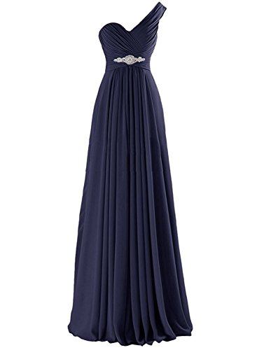 Azbro Women's One Shoulder Pleated Long Prom Dress Burgundy
