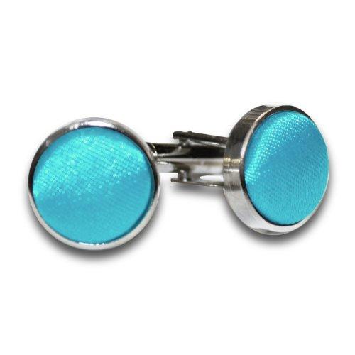 Nouveauté DQT Boutons De Manchettes Plaqués Argent Unis Homme Haute Qualité Bleu-vert