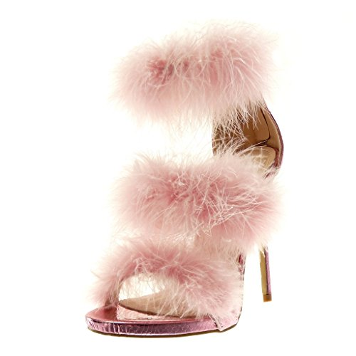 Angkorly Damen Schuhe Sandalen Pumpe - Stiletto - Knöchelriemen - Hohe - Feder - Schlangenhaut - String Tanga Stiletto High Heel 12 cm - Rosa B7795 T 38