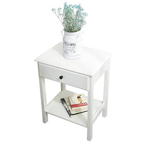 Etnicart - Comodino in legno MDF bianco e tavolino per divano e salotto tavolino da caffè 46x35xH60cm-Prodotto di QUALITA'