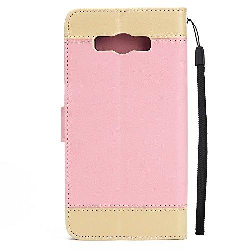 Dual Color Matching Premium PU Leder Flip Stand Case Cover mit Card Cash Slots und Lanyard für Samsung Galaxy J710 ( Color : White ) Pink