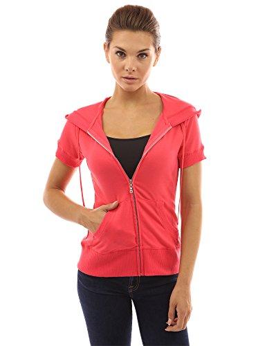 PattyBoutik Damen Kapuzenjacke mit Reißverschluss und kurzen Ärmeln (korallenrot 36/S) (Kurze Sport-jacke Für Frauen)