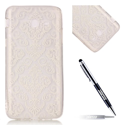 Galaxy J5 2017 Custodia, Cover Samsung Galaxy J5(2017) in Silicone TPU Transparente, JAWSEU Creativo Disegno Super Sottile Cristallo Chiaro Custodia per Samsung Galaxy J5 2017 Corpeture Case Antiurto  Fiore bianco