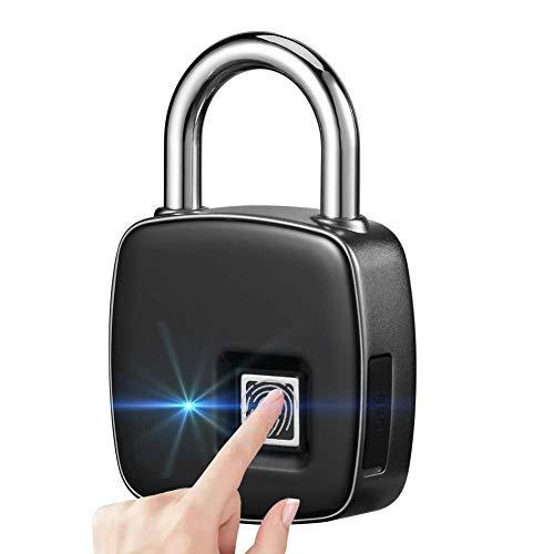 Shuua - Candado de huella dactilar, multiusos, recargable, portátil, con 1 segundo de desbloqueo rápido, resistente al agua, antirrobo, sin llave, para viaje
