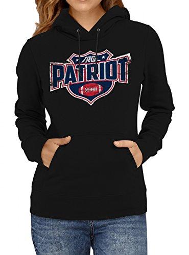True Patriot #8 Premium Hoodie Superbowl American Football Play Offs Frauen Kapuzenpullover, Farbe:Schwarz;Größe:M