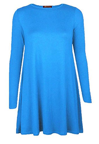 Islander Fashions femmes manches longues Swing patineuse robe dames col ras du cou fantaisie Party Wear robe Top S / 3XL Turquoise
