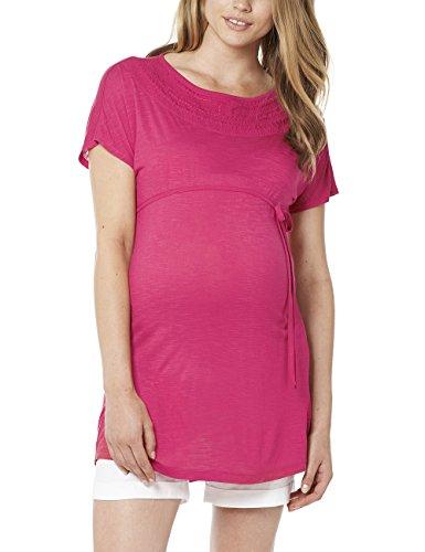 Noppies Damen Tunika Umstandskleid Tunic 3/4 Joy, Mini, Einfarbig, Gr. 40 (Herstellergröße: L), Rot (Deep Pink C103) (Rot-division-t-shirts)