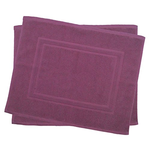 2er Pack 50 x 40 cm Julie Julsen Badvorleger in Premium Qualität 900 gm2 in aktuellen Farben und 4 Größen aus Baumwolle Badematte Badteppich Duschvorleger Design Doppel Rahmen Lila (Lila Badematte Dusche)
