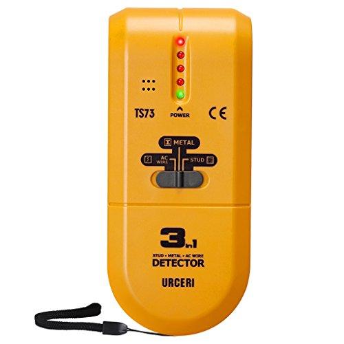 Detector de Pared, URCERI 3 en 1 Escáner Portátil de Metal, Madera y AC Cable, Detector de cables eléctricos, objetivos metálicos; Alarma Sonido, Zumbador, Indicador señal de luz LED
