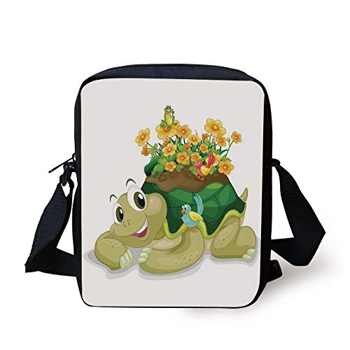 LULABE Reptile,Funny Floral Turtle Talking with Colorful Humming Birds Tortoise Ninja Home Decoration,Multi Print Kids Crossbody Messenger Bag Purse