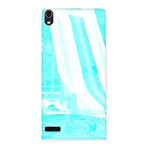 Cute Ride Cyan White Back Case Cover for Ascend P6