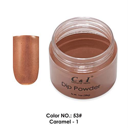 C & I Dip Powder Tauchen Pulver, Farbe # 53 Karamell-1, Gelnägel Effekt, Pulver für Nagellack, Karamell Farbsystem, 1 oz / 28 g