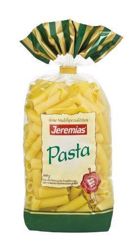 Jeremias Rigatoni, Pasta - Hergestellt aus reinem Hartweizengrieß, 4er Pack (4 x 500 g Beutel)
