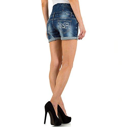 Used Look High Waist Jeans Shorts Für Damen bei Ital-Design Blau