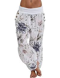 Hibote Mujer Pantalones Harén - Floral Cintura Elástico Pantalón Baggy Moda  Casual Slim Pantalones para Deportes Yoga Pilates Tallas Grandes… 1168e6fefc9