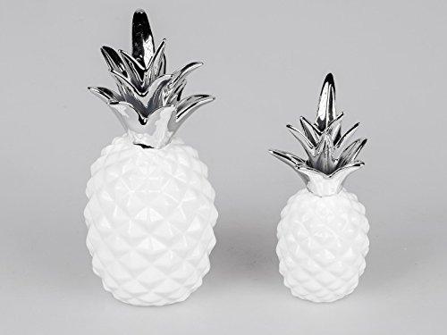 Ananas-set (Formano Figuren 'Ananas', 2-teiliges Set, 19 + 24 cm, weiß-silber)
