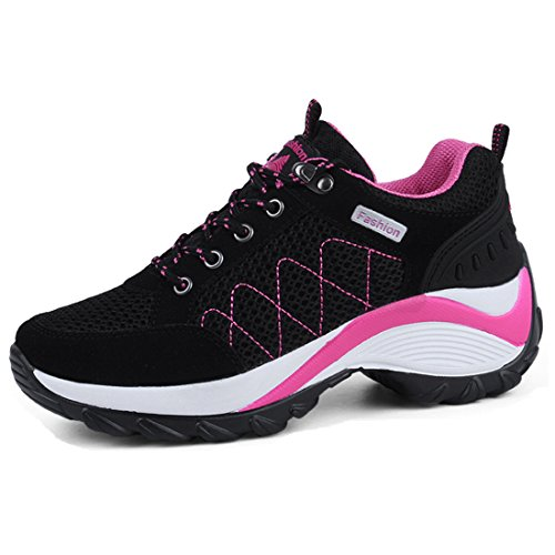 Breathable Lightweight Sport Women Shoes Thick Heel Lace Up Platform Shape Up Fitness Size 6(Black 39)
