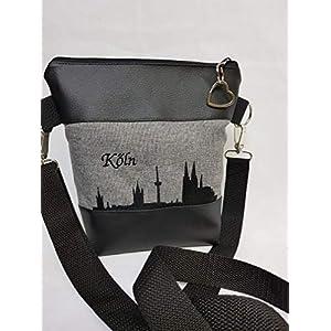 Handtasche Köln Umhängetasche Schultertasche Kunstleder grau schwarz handmade bestickt