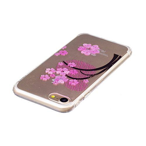 iPhone 7 Coque en Slicone, iPhone 7 Étui enTransparent Housse en Souple,Etsue iPhone 7 Mode Coque Romantique Élégant Beau Mandala Fleur Pissenlit Cool Chine Papillon Motif Ultra Mince Thin Flexible Do Fleur Rose Red